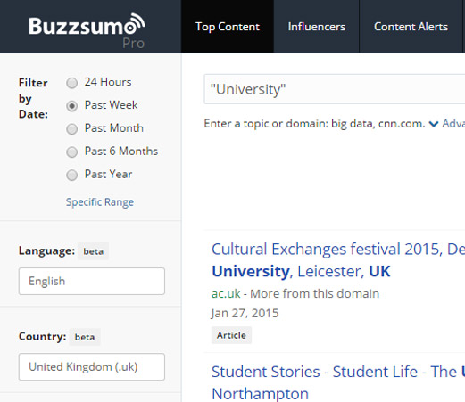 Buzzsumo local search example