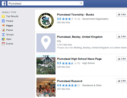 Facebook search example