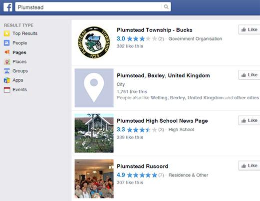 Facebook search example