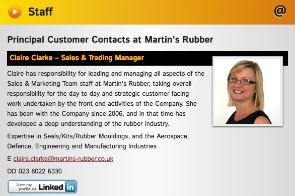 Contact page example - Claire Clarke at Martins Rubber