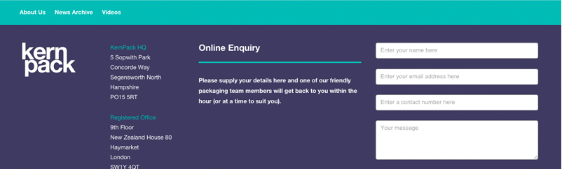 KernPack enquiry form on website