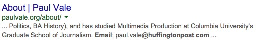 SERP for Paul Vale Huffington Posts email