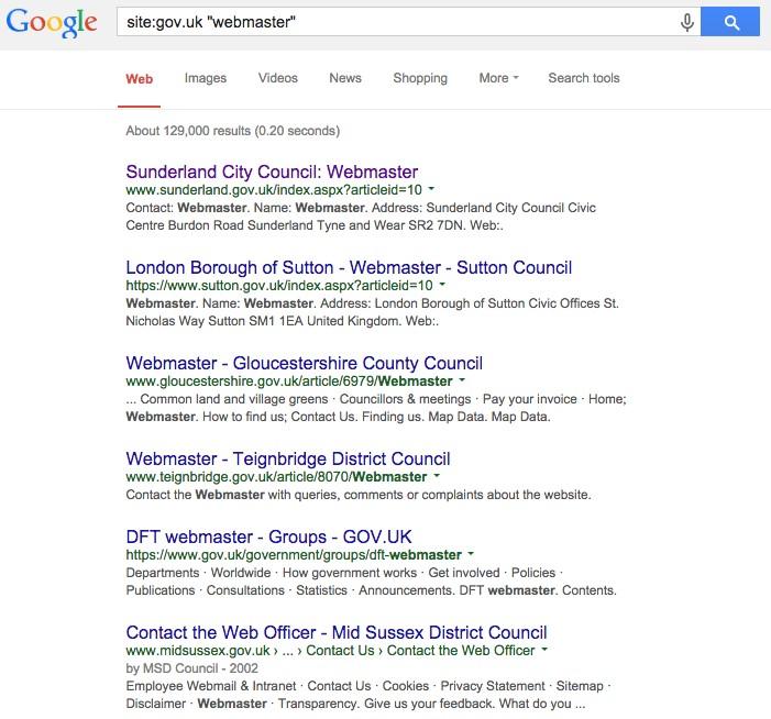 SERP for webmaster emails on .gov.uk domains