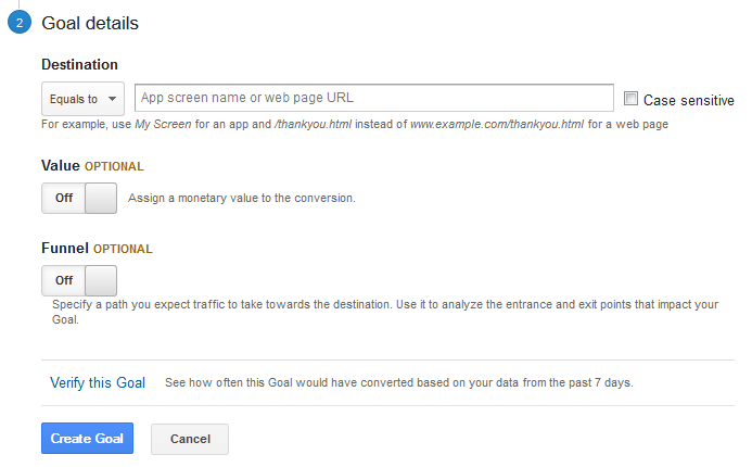Stage two of adding goals in Google Analytics