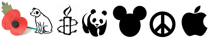 Famous logos and symbols including Amnesty, CND, Apple, Disney and WWF