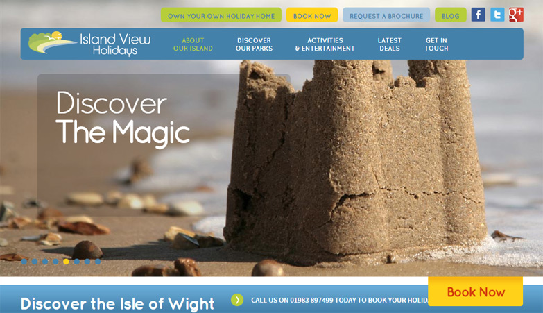 Island View Holidays landing page