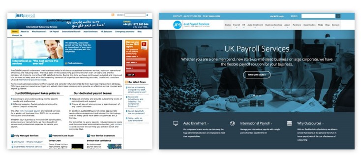 The old Just Payroll services on the left is a stark contrast to the new design on the right.