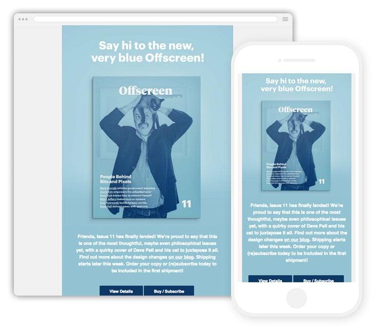 A simplistically splendid all blue email design
