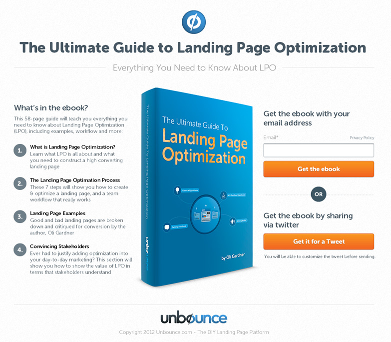 Landing page example from Unbounce