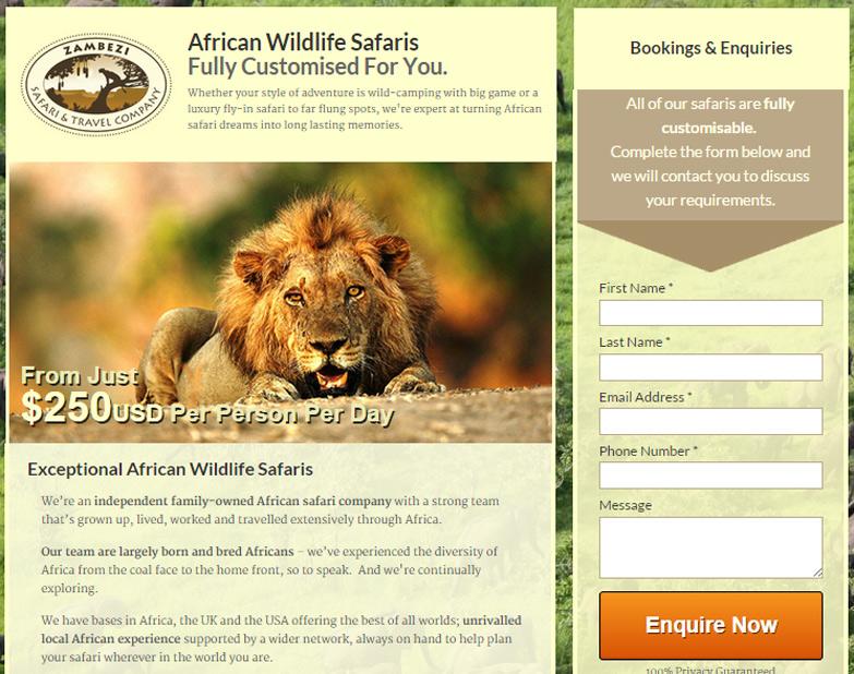 Zambezi landing page