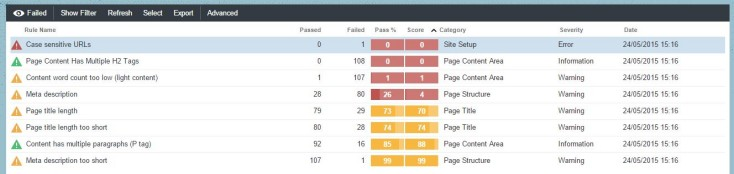 Apollo Insights auditor screen displaying technical SEO data