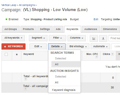 Keyword data in AdWords