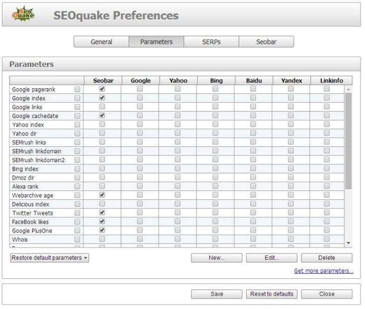 SEOquake tool