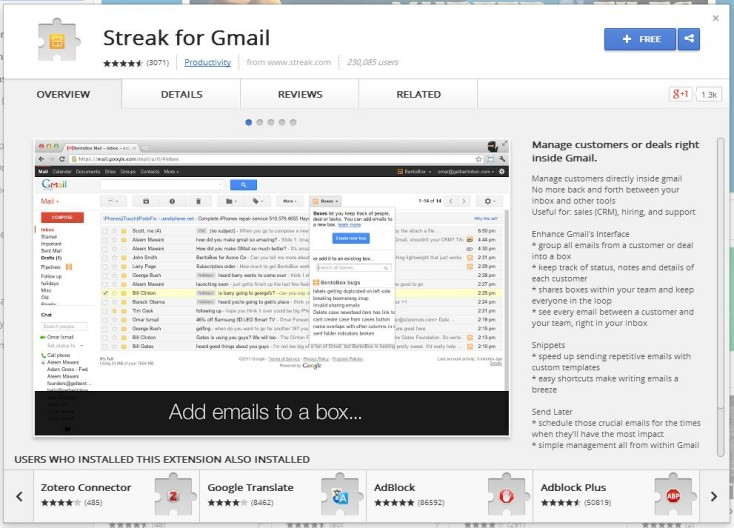 Streak for Gmail SEO