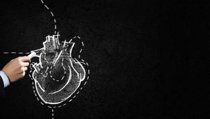 Black and white picture of a heart on chalkboard