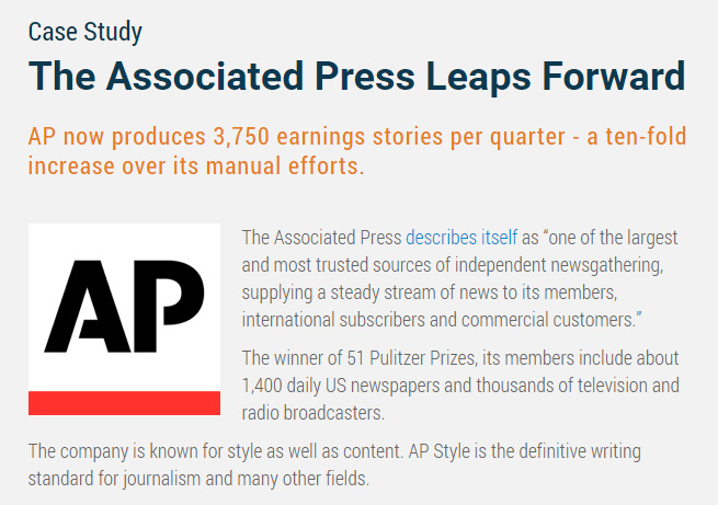 Associated Press case study by Automated Insights