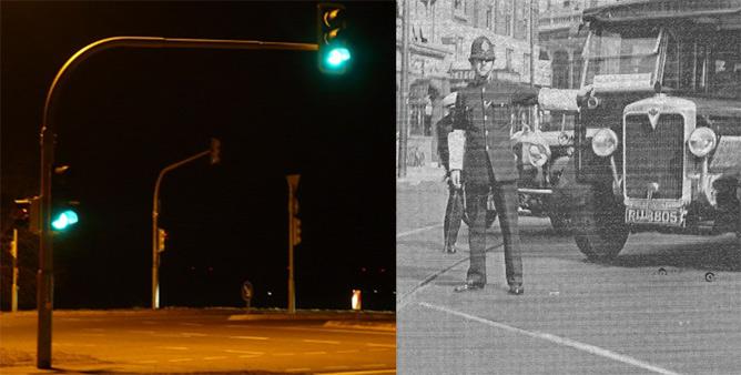 Traffic light versus policeman