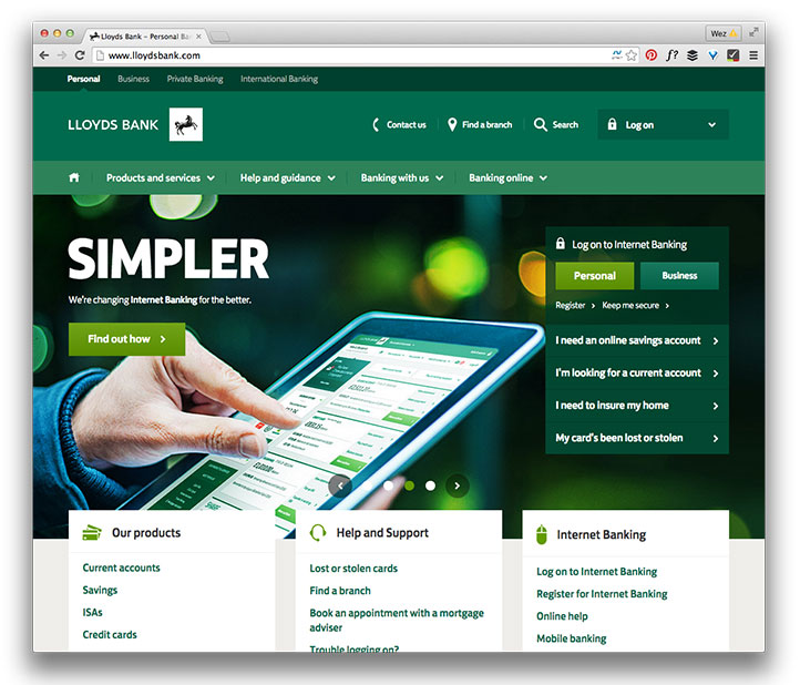 Lloyds bank home page