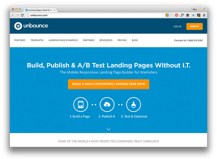 Unbounce home page