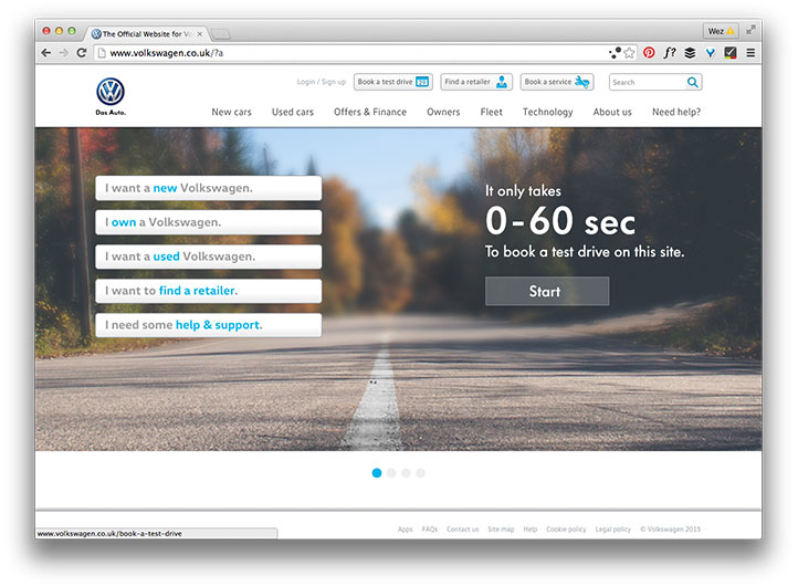 Volkswagen home page