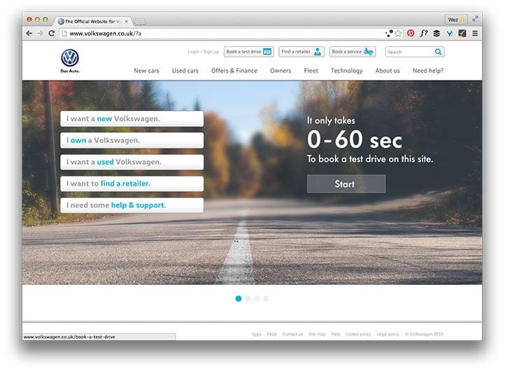 Volkswagen home page