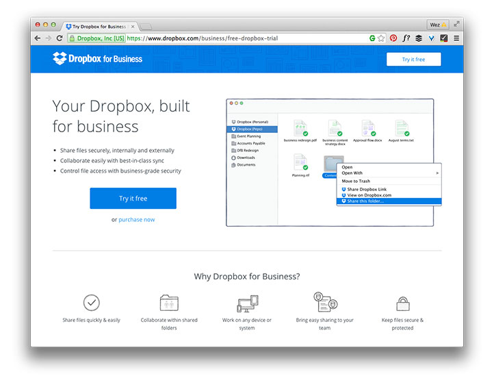 Dropbox website screenshot