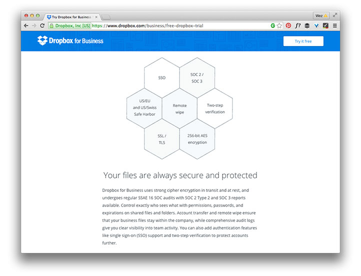 Dropbox lower homepage section