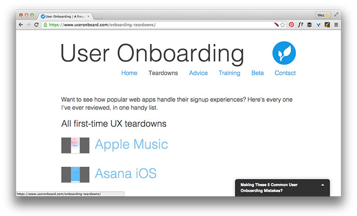 User onboarding web page