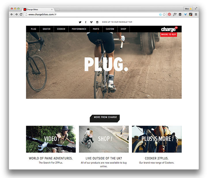 Charge Bikes home page