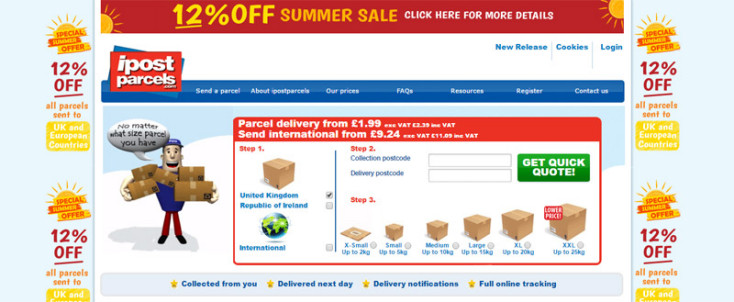 Ipostparcels home page