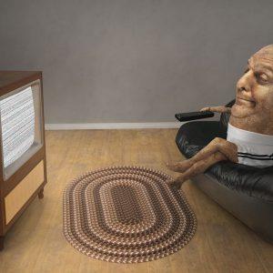 Lethargic man lying on a sofa