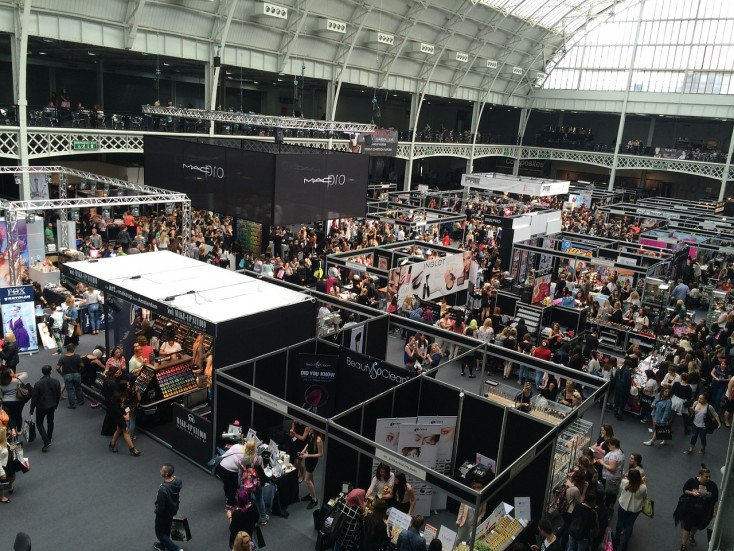 Image of a trade show from above