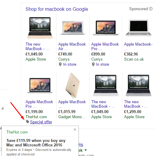 Screenshot of google shopping feed
