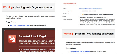 Website malware warnings