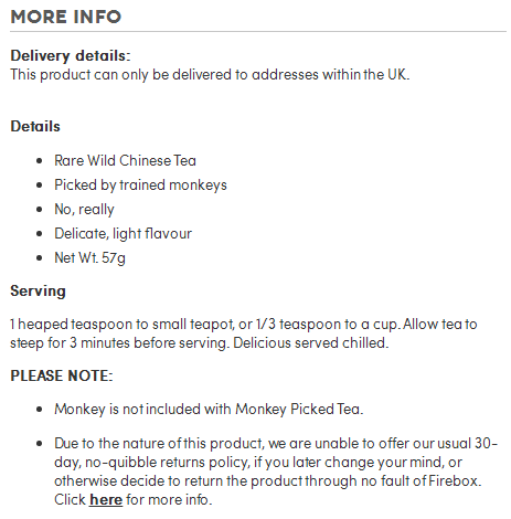 Here's another example from Firebox's Monkey Picked Tea. They even have serving instructions.
