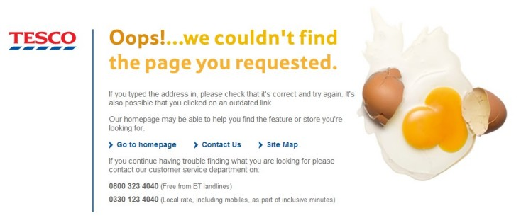 Discontinued product SEO tactics - Image showing a standard 404 page from tesco Website