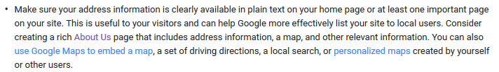Google advice on address on-site