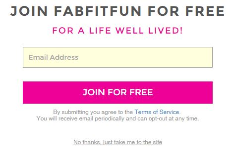 Fab Fit Fun subscriber pop up