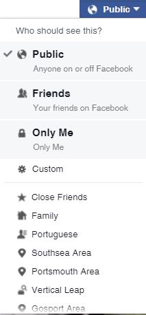 Facebook sharing filters