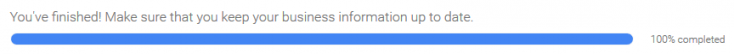 You're finished - Google My Business progress bar