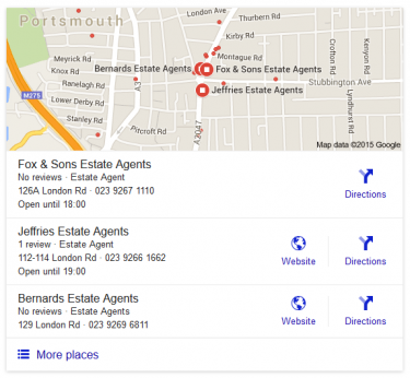 Google local search snack pack results