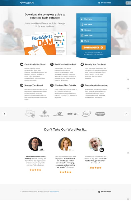Landing page design example