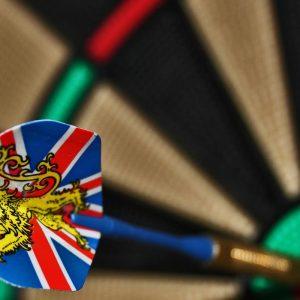 Dart with union flag hitting bullseye