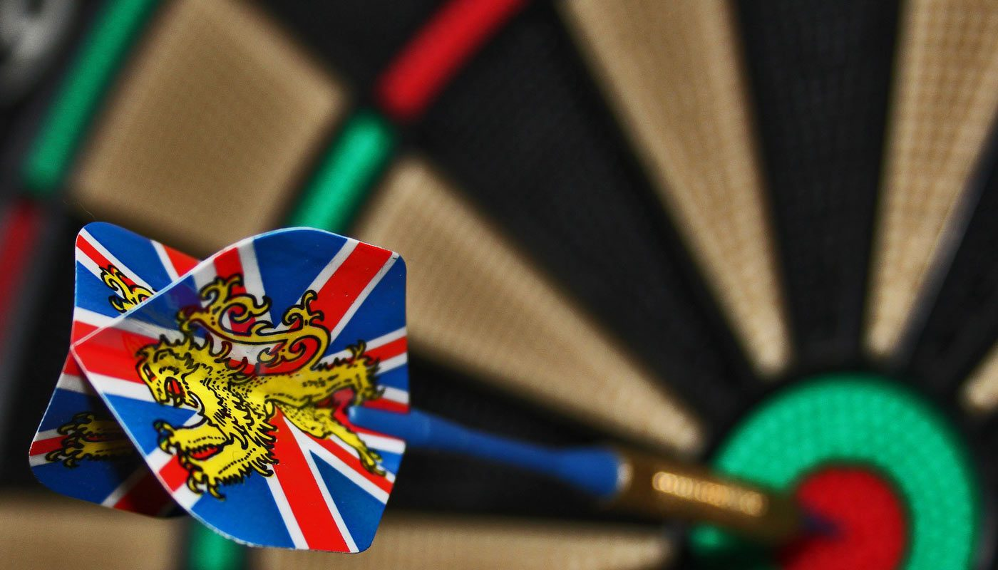 Dart with union flag hitting bullseye
