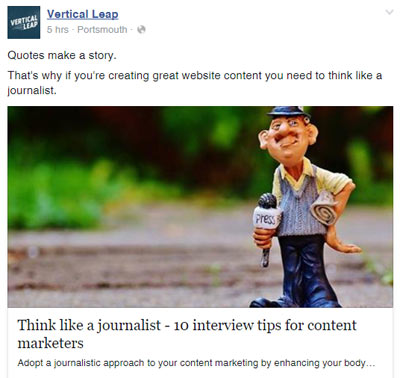 Facebook content promotion
