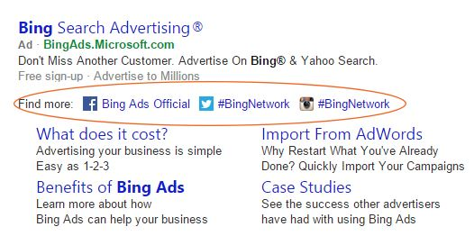 Bing testing social extensions