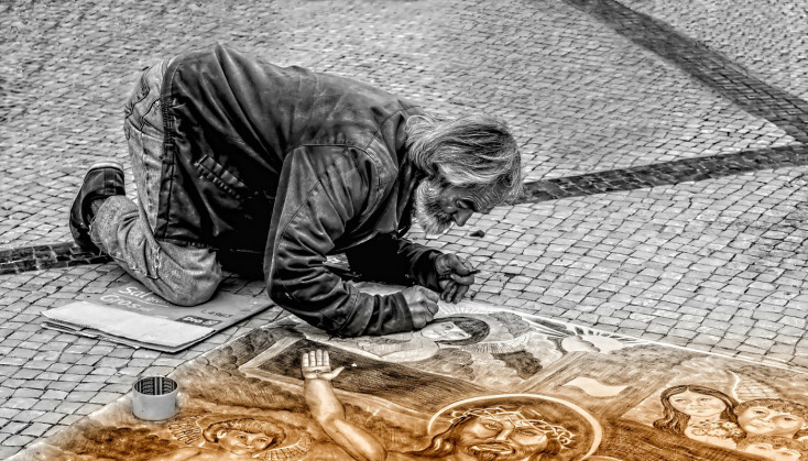 Man painting on the street