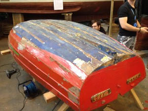 Boat before the paint stipping at Portsmouth Historic Dockyard