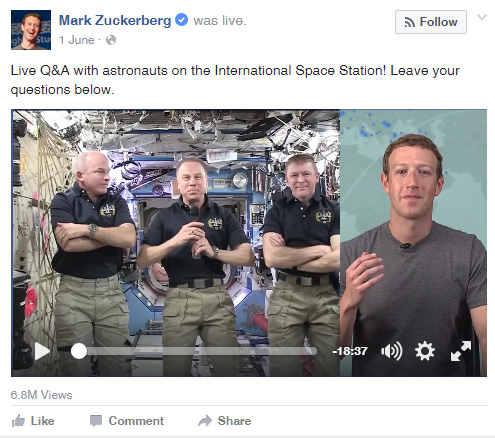 Mark Zuckerberg uses Facebook Live to interview the astronauts on the international space station