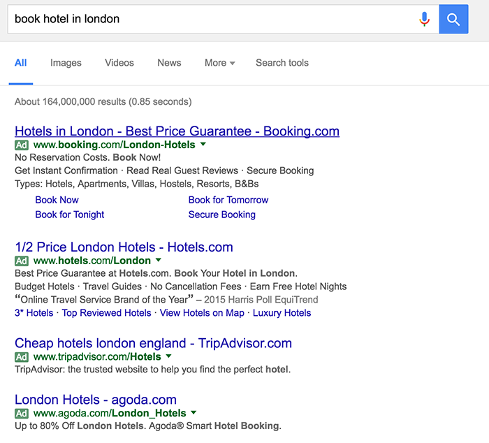 four-pack 'book hotel in London' PPC listing in Google